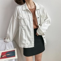 Fashion Women Jeans Jacket Spring Autumn BF Style Turn Down Collar White Denim Jackets Tops Female Loose Coat Outerwear SF842