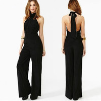 Women Chiffon Casual Black Sleeveless Lady Jumpsuit Halterneck Romper