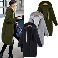 Casual Zipper Outerwear Long Hooded Jacket