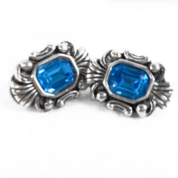 Vintage Earrings - Silver Tone - Blue Stone - Clip On Earrings - Vintage 1980's Earrings - Vintage Clip ons - Gift for her