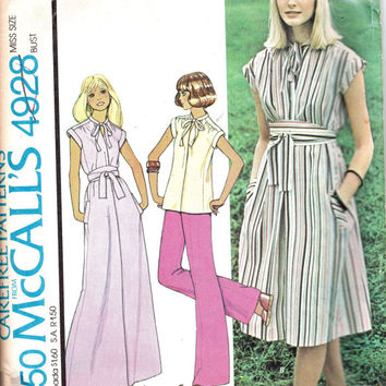 Boho Hippie Style Retro McCall's Sewing Pattern Plus Size Full Figure Maxi Dress Keyhole Neck Tunic Bust 40 42
