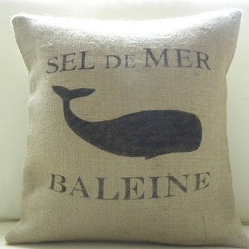 Burlap French Whale pillow cover summer coast beach by TheNestUK
