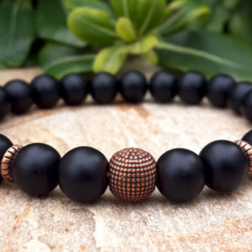 Men's bracelet, Men Mala Black Bracelet, Onyx, Copper, Life Force Energy, Yoga jewelry, Protection, Meditation, Balance, Spiritual Beads