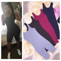 Mid Thigh Thick Strappy Cotton Jumpsuit