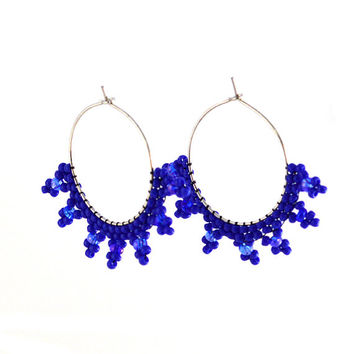 Beaded Blue Hoop Circle Earrings