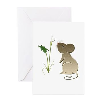 CUTE MOUSE AND CALLA LILY GREETING CARD