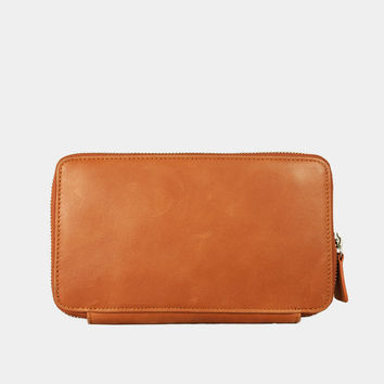 UN1 Travel Orange Leather Wallet with Pen Holder : leather wallet / Woman Leather Wallet / Leather Clutch Wallet / Leather Zip Wallet.