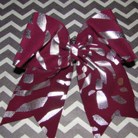 Maroon Animal Print Cheer Bow by isparklethat on Etsy