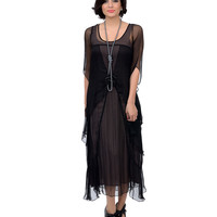 Nataya 1930s Style Black Three-Quarter Sleeve Tea Rose Dress