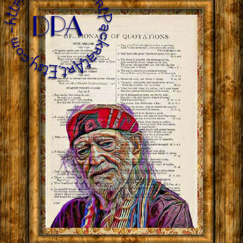 Geeky Kitsch Art Country Singer Willie Nelson Art - Vintage Dictionary Page Art Print Upcycled Page Print