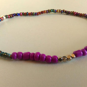 Beaded Ankle Bracelet, Multicolor Rainbow Purple Anklet, Boho Anklet, Beach Summer Beads Ankle, Elastic Colorful Anklet, Body Foot Jewelry