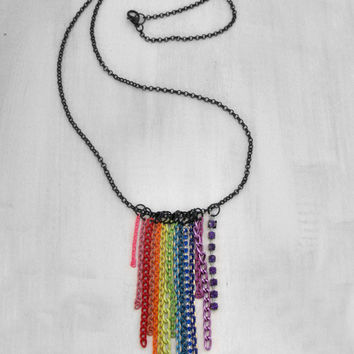Rainbow Necklace Chain Necklace Colorful Necklace LGBT Necklace Prismatic Necklace Prism Necklace Bright Necklace Neon Necklace