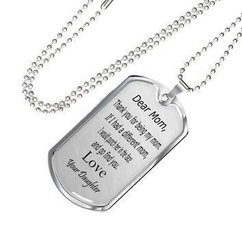 Dear mom punch in face love daughter silver and gold necklace