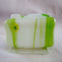 Green and White Swirled Glass Business Card Holder