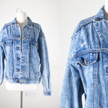 1980s Acid Wash Denim Jacket / Vintage 80s Jean Jacket / Light Blue Denim Jacket / Oversized Denim Jacket / 90s Grunge / Biker Jacket
