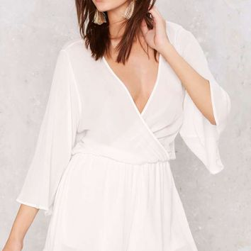 Too Deep Plunging Romper - White