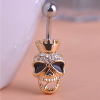 Belly Button Ring Skull Skeleton Body Jewelry Piercings