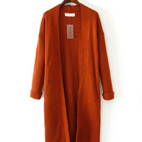 Deep Orange Folded Long Sleeve Knitted Long Cardigan