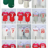 Men's Philadelphia Phillies 7 Maikel Franco 20 Mike Schmidt baseball Authentic Player Jersey color white red grey green