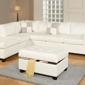 Bonded Leather 3 Piece Sectional Sofa With Ottoman In White By Poundex