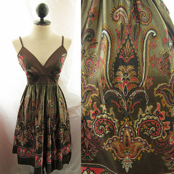 Freedom Indie Bronze Olive Incas Mayan Aztec Gold Persian Paisley Ancient Royal Majestic Baroque Moorish Satin Babydoll Bohemian Dress