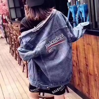 LMFONHA Balenciaga Fashion Retro Stripe Long Sleeve Denim Cardigan Jacket Coat