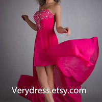 rose red High Low Cocktail Dress Short Prom Dresses Short Evening Dress