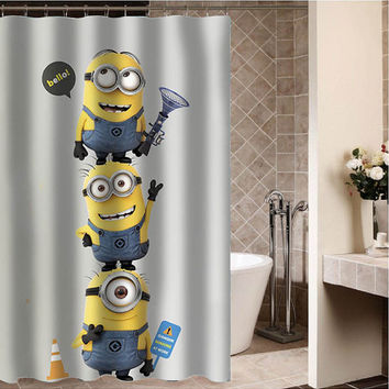"despicable me minion 1 Custom Shower curtain,Sizes available size 36""w x 72""h 48""w x 72""h 60""w x 72""h 66""w x 72""h"