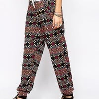 Native Rose Love Beads Print Jersey Jogger
