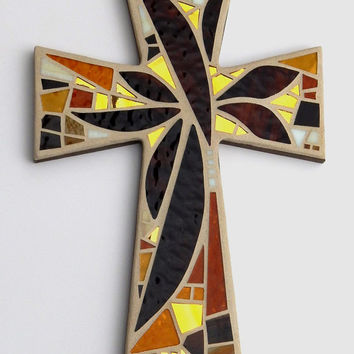 "Mosaic Wall Cross, Large,  Abstract Floral, ""Sunset"", Shades of Brown+Gold Mirror Handmade Stained Glass Mosaic Cross Wall Decor, 15"" x 10"""