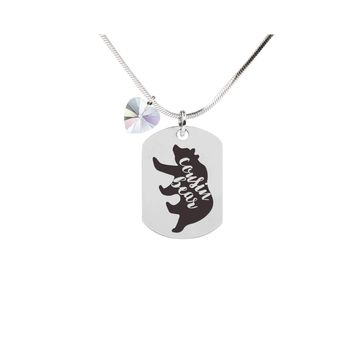 Inspirational Tag Necklace In AB Made With Crystals From Swarovski  - COUSIN BEAR
