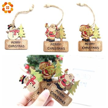 3PCS DIY Wooden Pendants Ornaments Christmas Wood Craft Xmas Tree Ornaments For Home Decor Christmas Party Decorations Kids Gift