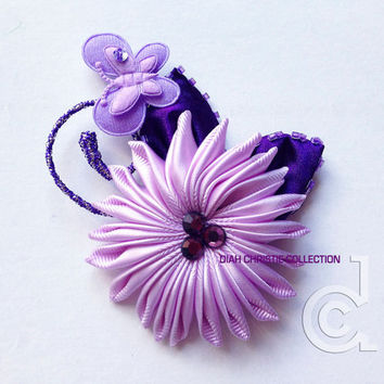 Purple flower fascinator, wedding flower fascinator, bridal hair piece, purple floral hair clip, butterfly fascinator