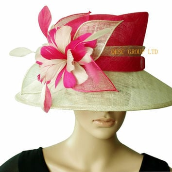 NEW Hot pink wide brim beige Sinamay fascinator Hat kentucky derby hat for church,Races.wedding.