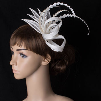 High quality multiple color sinamay base fascinator headwear cocktail bridal  hair accessories millinery cocktail hat MYQ011