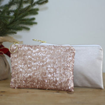 Blush Pink Sequins and Champagne, Gold, or Copper Leather Clutch / Rose Gold Cosmetic Case Fancy Bridesmaid Gift - Almquist Design Studio