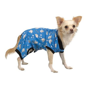 Casual Canine 12-Inch Blue Polar Bear Cotton Cozy Dog Pajama, Small