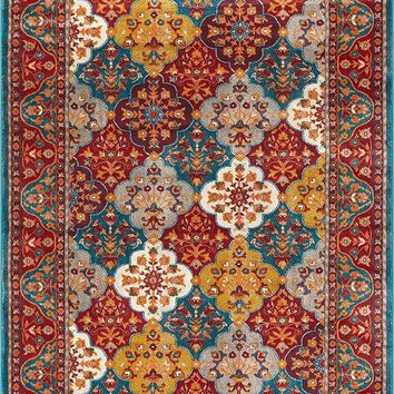 2926 Blue Multi-Color Panels Persian Area Rugs