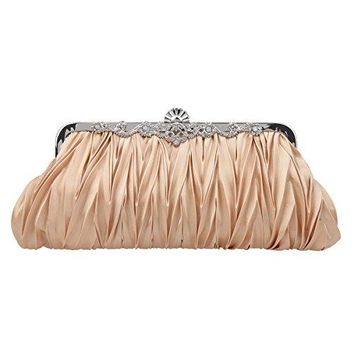Fawziya Satin Pleated Clutch Purses For Women Evening Clutches For Wedding And Party