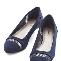 ModCloth Minimal Prance as You Please Flat in Navy