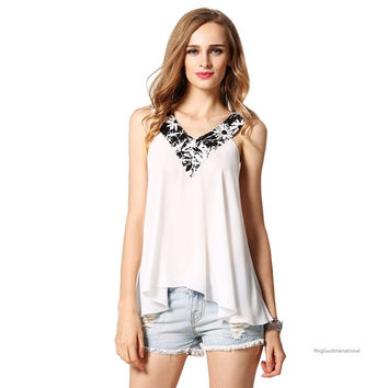 Women Fashion Sexy Casual Loose V Neck Sleeveless Patchwork A-Line Tank Tops = 1838573828