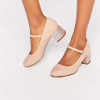 New Look Wide Fit Glitter Block Heel at asos.com