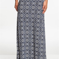 Navy and White Print Fold-Over Maxi Skirt