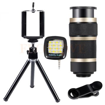 With Tripod 8X Telescopic lenses Mobile Phone Lens 8X Zoom Telephoto Lentes For iPhone 5 5s 6 6s 7 Plus Smartphone Selfie lamp