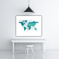 Instant Print Earth Poster, Printable World Map Digital Poster, World Poster, Watercolor World Map Download, Blue World Map Poster Printable