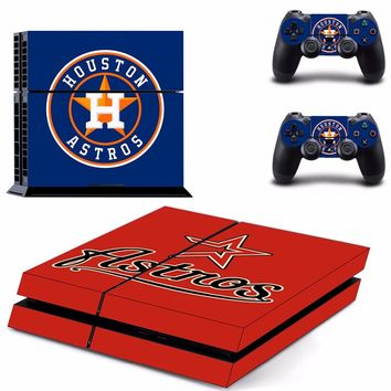 Houston Astros: Vinyl Skinr Decal for Sony PlayStation 4 Console and 2 controller skins