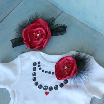 Hand Painted Pearl Necklace Onesuit with Removable Pin and Matching Headband in Size 6-12 months
