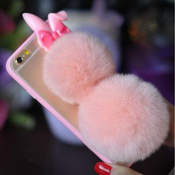Phone Cases for iPhone 5s SE 6 6s 7 Plus for Samsung S6 S7 Edge Cute Bunny Rabbit Pompom Fur Ball PC+TPU Back Case Cover