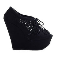 Fender Womens Platform Peep-Toe Wedge Lace-Up Cut-Out Design New Shoes