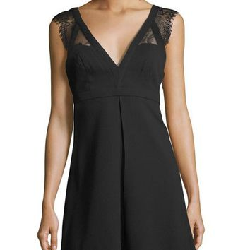BCBGeneration V-Neck Lace-Trim Dress